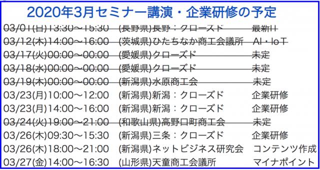 2020年3月以降の講演予定で注目セミナー(新潟県外も多数)