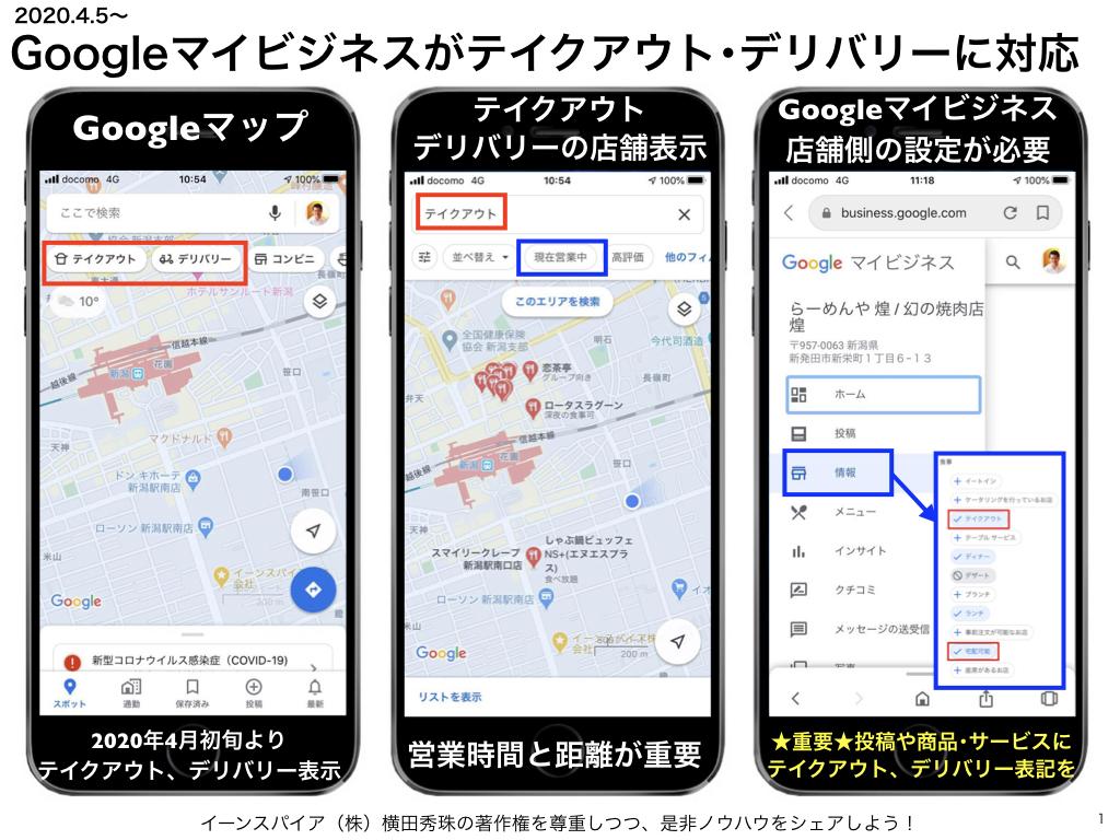 Googleマイビジネスがテイクアウト・デリバリーに対応