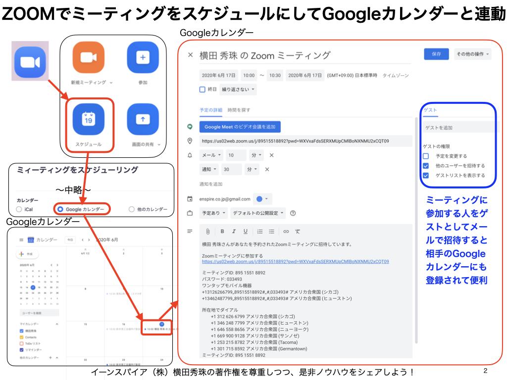 ZOOMミーティングのスケジュールをGoogleカレンダーと連動