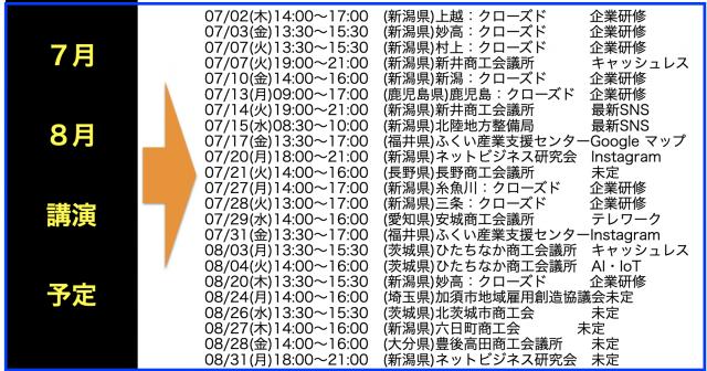 2020年7月以降の講演予定で注目セミナー(新潟県外も多数)
