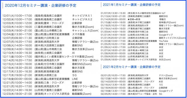 2020年12月以降の講演予定で注目セミナー(新潟県外も多数)