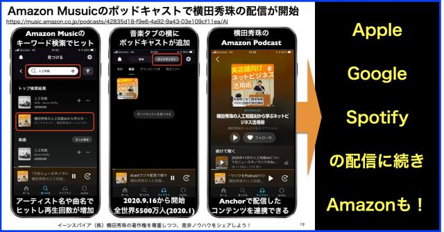 Amazon Musuicのポッドキャストで横田秀珠の配信が開始