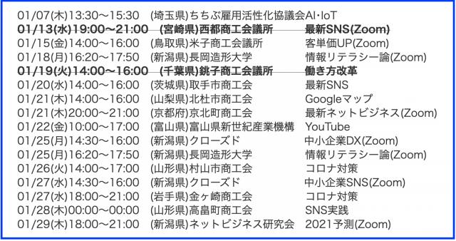 2021年1月以降の講演予定で注目セミナー(新潟県外も多数)