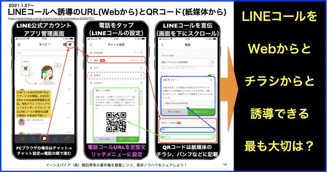 LINEコールへ誘導のURL(Webから)とQRコード(紙媒体から)