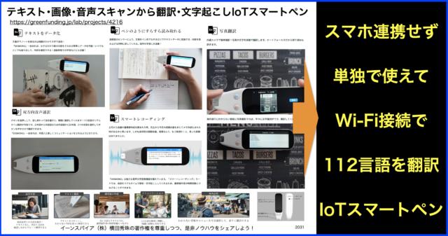 テキスト・画像・音声スキャンから翻訳や文字起こしペン型IoT