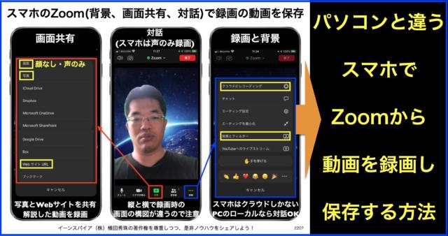 スマホからZoom(背景、画面共有、対話)で録画の動画を保存