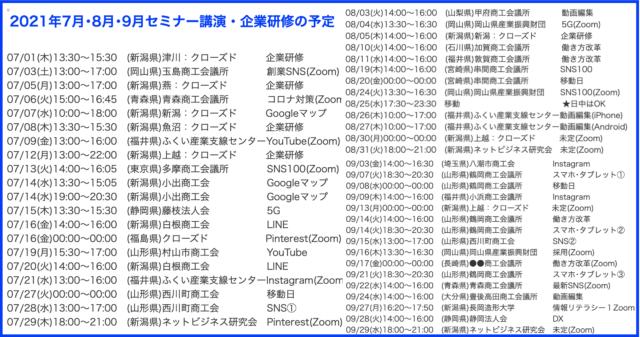 2021年7月以降の講演予定で注目セミナー(新潟県外も多数)