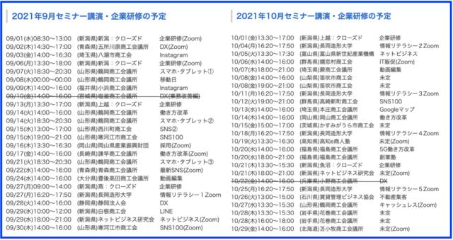 2021年9月以降の講演予定で注目セミナー(新潟県外も多数)