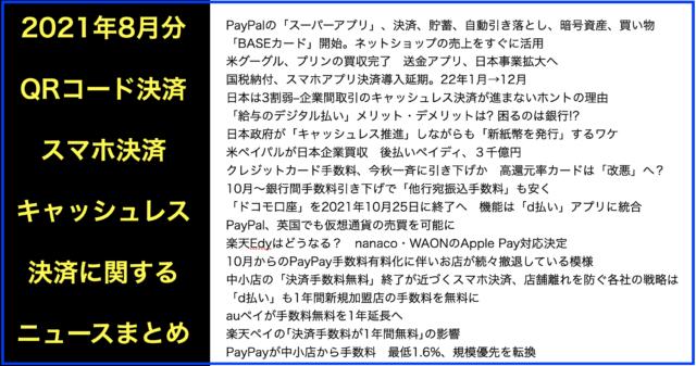 スマホQRコード・キャッシュレス決済ニュース2021年8月分
