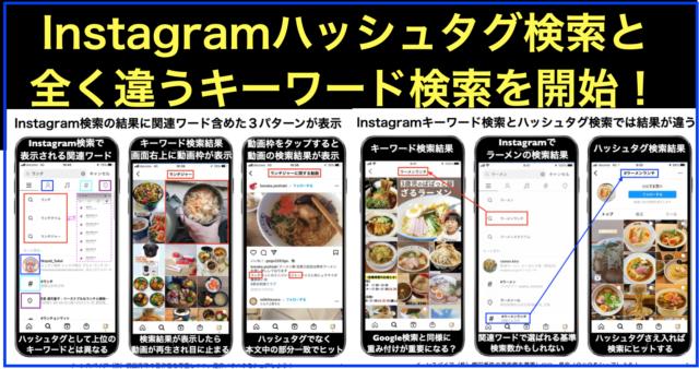 Instagramハッシュタグ検索と全く違うキーワード検索を開始